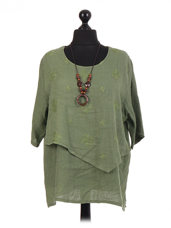 Italian Linen Layered Embroidered Necklace Top