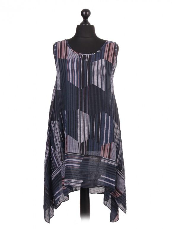 Italian Linen Stripe Pattern Tunic Dress