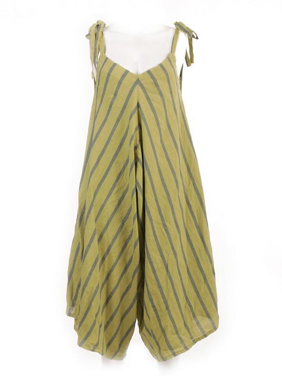 Italian Stripe Linen Stripe Draped Jumpsuit
