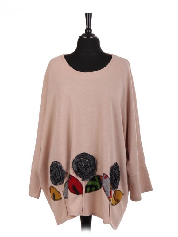 Italian Lana Wool Mix Applique Floral Batwing Top