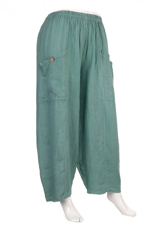 Plus Size Italian Linen Trousers With Front Button Pockets