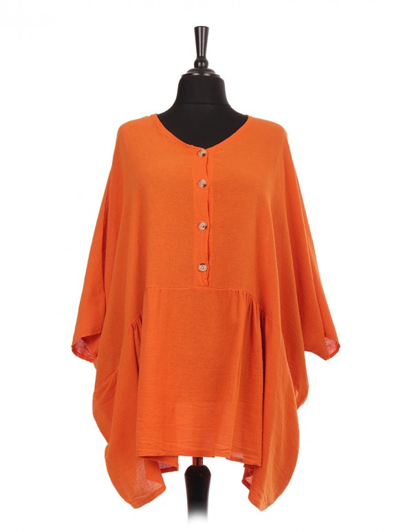 Plus Size Italian Tunic Top With Front Button Panel And Pockets