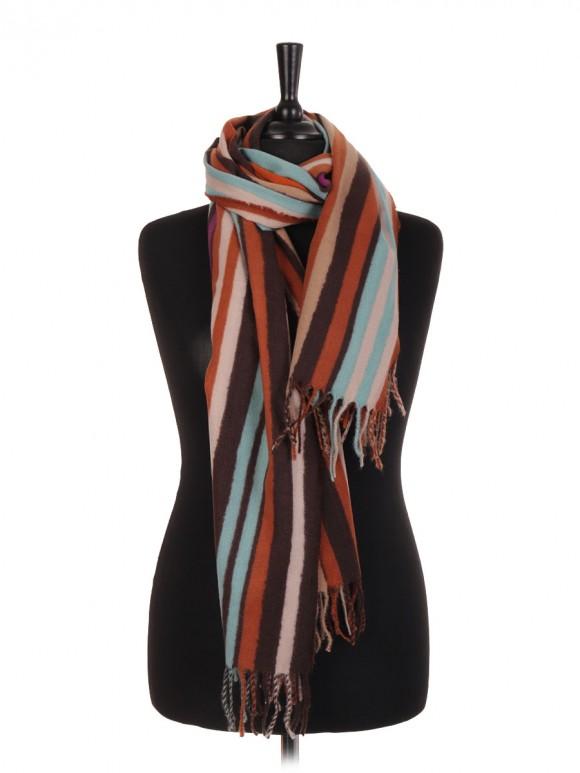 Stripe Print Wool Mix Pashmina Scarf/Shawl