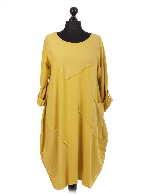 Italian Contrast Ribbed Fabric Panel Lagenlook Dress