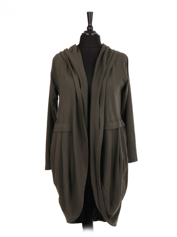 Italian Cotton Hooded Jacket With Side Pockets