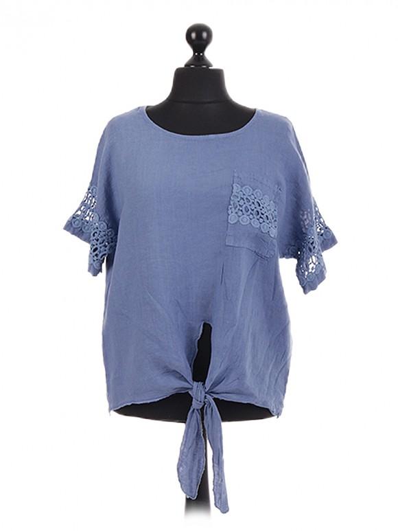 Italian Crotchet Lace Front Tie Top