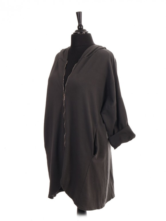 Italian Front Zipper High Low Hooded Jacket With Pockets
