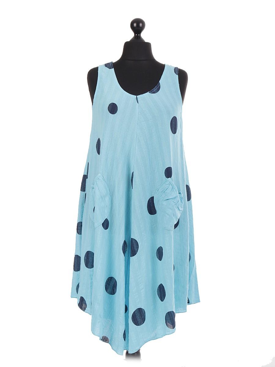 7884625319b Made In Italy Wholesale Polka Dot Sleeveless Linen Dresses