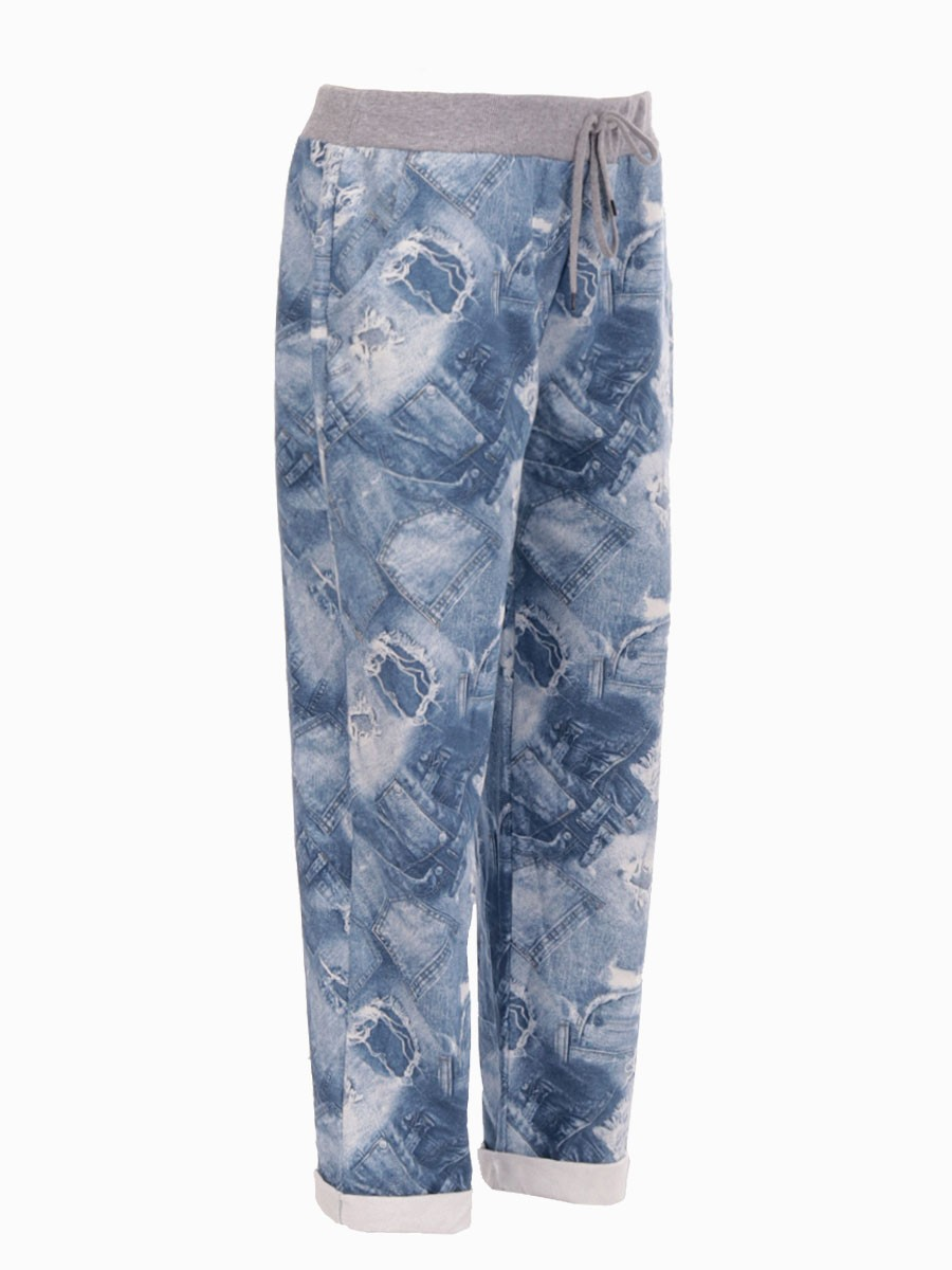 655e074bf5dec Plus Size Italian Cotton Printed Trouser. Zoom