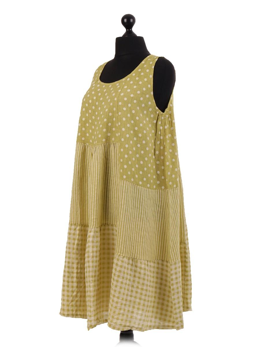 27e3c411688 Italian spotty Linen Sleeveless Dress. Zoom
