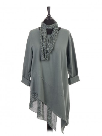 Italian Asymetric Leopard Print Hem Dress With Scarf