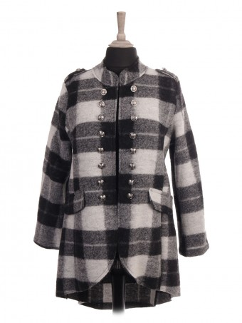Italian Check Print Hi-lo Wool Jacket