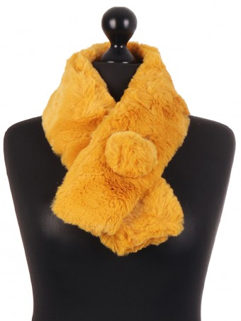 Italian Faux Fur Pom Pom Button Scarf