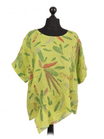Italian Linen Floral Print Asymmetric Hem Top