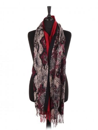 Snake Print Wool Mix Pashmina Scarf/shawl