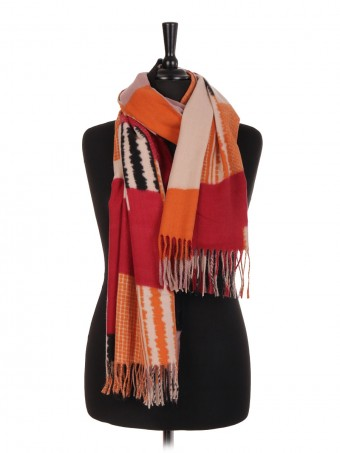 Block Print Wool Mix Pashmina Scarf/Shawl
