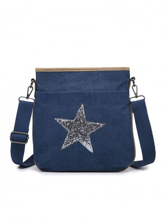 Canvas Glossy Star Cross Body Bag