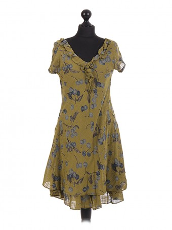 Italian cherry Printed Layered Frilled Dress