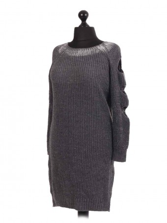 Chunky knit Slashed Shoulder Longline Jumper