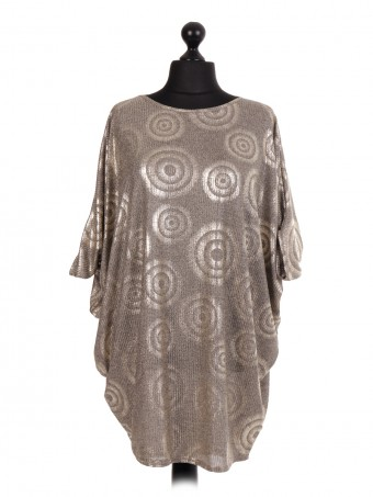 Circle Pattern Batwing Top - Color Gold