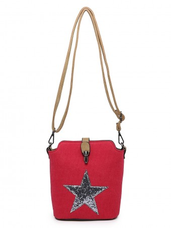 Cross Body Sequin Star Canvas Bag