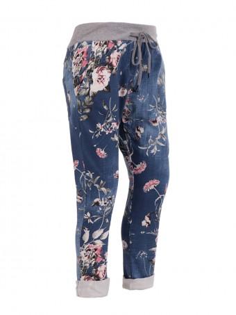 Italian floral print trousers - denim