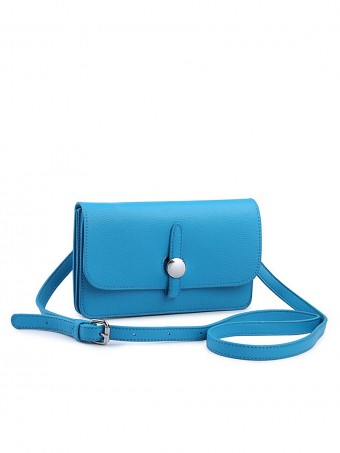 Faux Leather Cross Body Bag With Stud Fastening