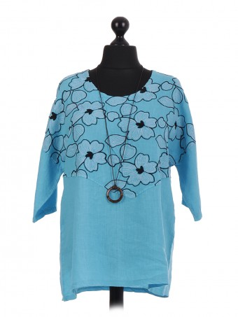 Italian Floral Embroidered Top With Necklace