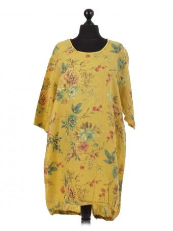 Italian Floral Linen Cord Hem Dress