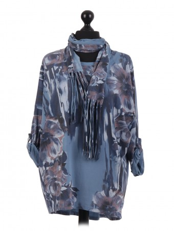 Floral Print Batwing Top With Scarf