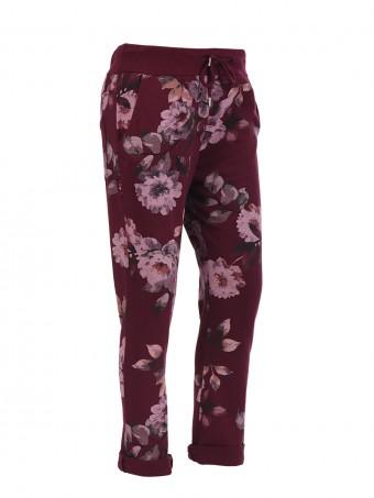 Italian floral print trouser- color wine