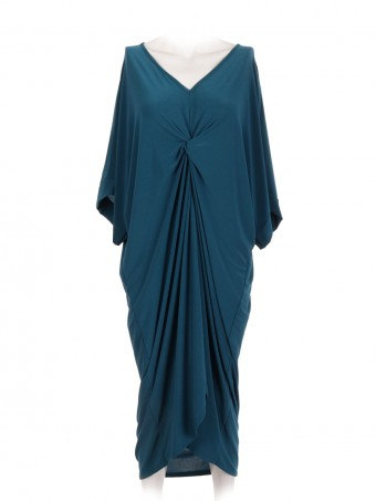 Front Twist V Neck Jersey Dress