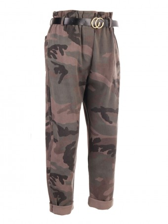 High Waist Camouflage Print Italian Trouser With Belt