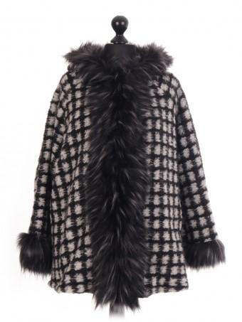 Italian - Check Faux Fur Trim Jacket