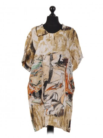 Italian Abstract Print Linen Dress