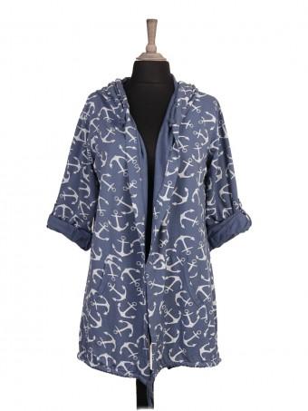 Italian Anchor Printed Drawstring Hem Hooded Jacket