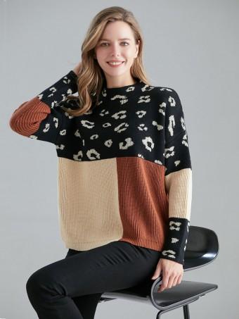 Italian Animal Print Colour Block Knitted Jumper
