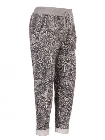 Italian Animal Print Cotton Trouser with Side Pockets