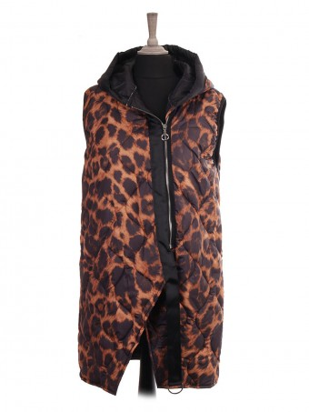 Italian Animal Print Padded Hooded Gilet With Side Zip Pockets