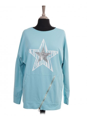 Italian Animal Print Star Sweat Top With Front Diagonal Pockets