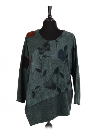 Italian Assymetric Hem Top With Floral Panel and Wool Patch