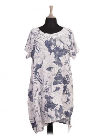 Italian Asymmetric Hem Floral Printed Linen Lagenlook Dress