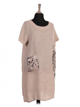 Italian Printed Pocket Short Sleeves Linen Dress