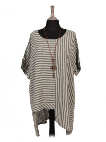 Italian Asymmetric Hem Stripy Print Top With Necklace