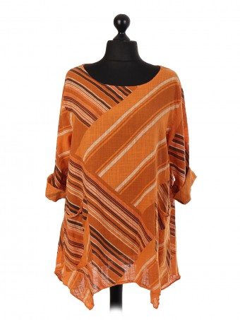Italian Asymmetric Stripe Pattern Tunic Top
