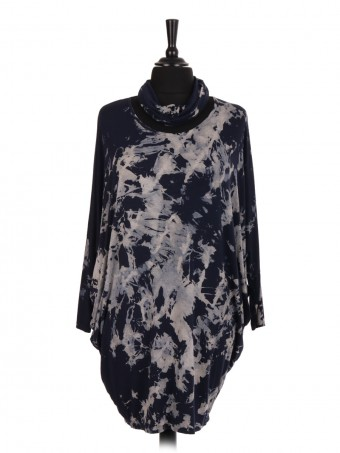 Italian Bleach Effect Batwing Top With Scarf