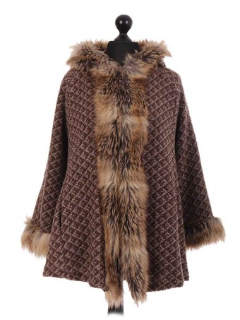 Italian Brown Textured Faux Fur Cape Jacket