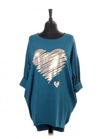 Italian Brush Stroke Glossy(Silver/Gold) Heart Print Dip Hem Top