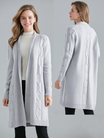 Italian Cable Knitted Open Front Cardigan