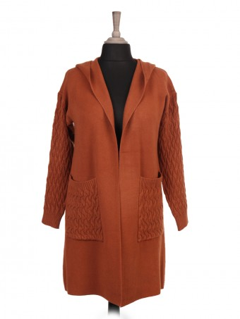 Italian Cable Knitted Sleeves And Front Pocket Hooded Cardigan